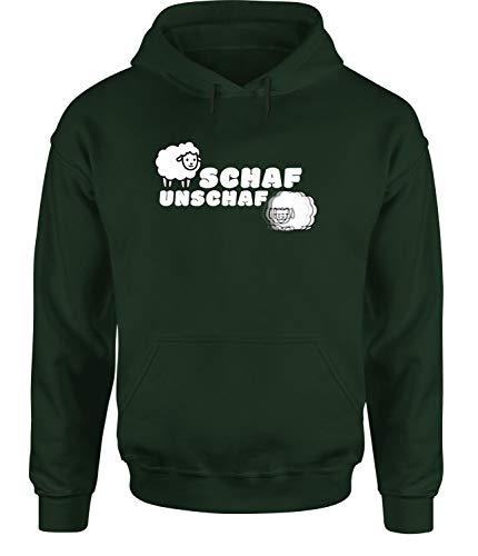 Schaf Unschaf Hoodie Unisex Funshirt Sweatshirt Fotografen, Farbe: Grün, Größe: X-Large