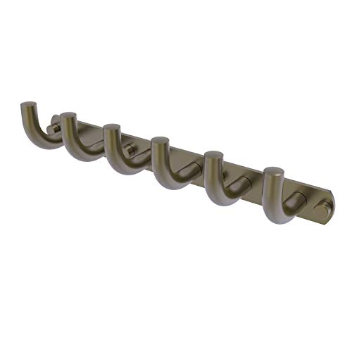 Allied Brass RM-20-6 Remi Collection 6 Position Tie and Belt Rack Decorative Hook, Antique Brass