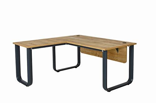 Furni24 Schreibtisch Luxus Office, Bürotisch gesetzt, Holzdekor, Winkel-schreibtisch, tisch Maya 160cm Anbau rechts o. links montierbar Eiche/Anthrazi, Schreibtisch mit Aluminiumbeinen