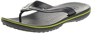 Crocs Unisex Men s and Women s Crocband Flip Flops   Adult Sandals Graphite/Volt Green 14 US