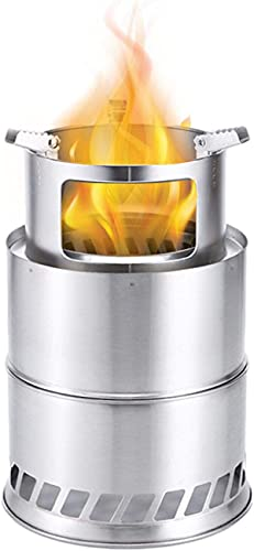 Wood Stove Portable Oven Camping Stove Wood Gasifier For Outdoor Camping Picnic BBQ, Double Wall Design, Stainless Steel, Large Capacity