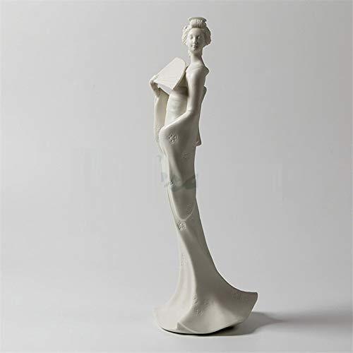 DSZXHN Estatuas Escultura Estatuillas,Cerámica Creativa Al Estilo Japonés Geisha Chica Figura Figurilla De Cerámica Escultura Coleccionable,Adornos De Escritorio Arte Artesanía Decoración Estatuillas