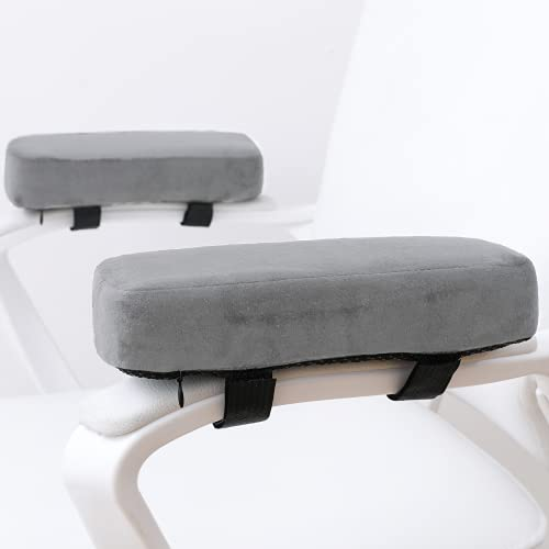 LargeLeaf Extra Thick Chair armrest Cushions Elbow Pillow Pressure Relief Office Chair Gaming Chair armrest with Memory Foam armrest Pads 2-Piece Set of Chair (Gray)