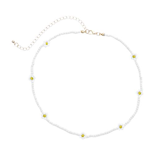 Happyyami Boho Perle Gänseblümchen Halskette Samen Perlen Choker Halskette Bunte Handgemachte Perle für Frauen Und Mädchen Schmuck (Weiß)