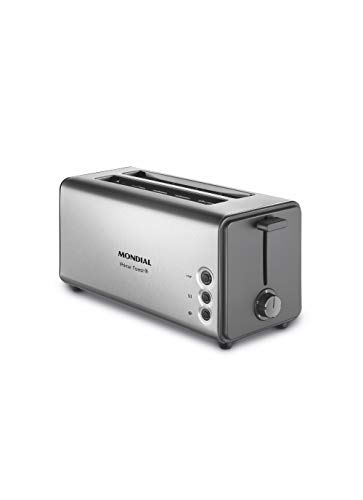 Mondial Tostadora Automatik-Toaster T16, 2 Schlitze, bis zu 4 Scheiben Brot, 1400 W, Edelstahl, Metall, Silber