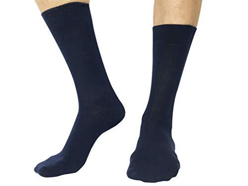 Calcetines elegantes para ocasión especial. Hombre. Azul marino - 6 pares - talla 41/46