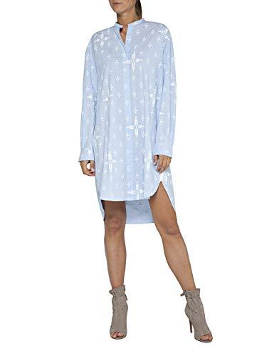 Replay Damen W9531 .000.71718 Kleid, Mehrfarbig (Azure/White 10), Large (Herstellergröße: L)