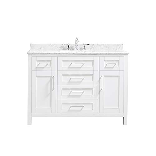 Ove Decors Maya 48 Set Bathroom Vanity Freestanding Cabinet, 48 inches, Pure White with Carrara Natural Marble Countertop