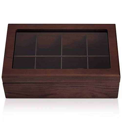 Apace Living Tee Box Luxeriöse Tee Aufbewahrung Box Holz – 8 Fächer für die Aufbewahrung von Teebeuteln - Handgefertigte Teebox mit kratzfestem Sichtfenster – Elegante Teebeutel Aufbewahrungsbox