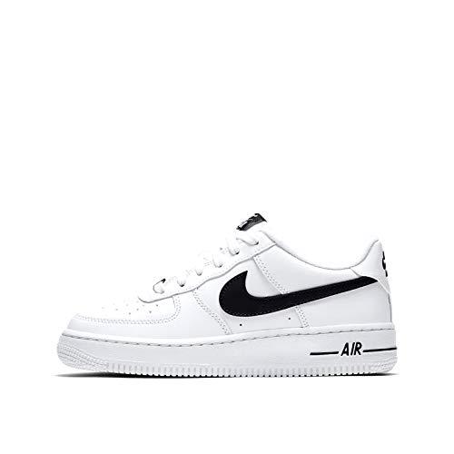Nike AIR Force 1 AN20 (GS) Basketball Shoe, White/Black, 38.5 EU