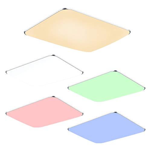 Fscm 48W LED Deckenleuchte Lampe Modern Deckenlampe Deckenleuchten für Bad Schlafzimmer Küche Balkon Korridor Büro, PVC Abdeckung Alu Rahmen Platz 65x43x10cm 2800-6500K RGB Dimmbare mit Fernbedienung