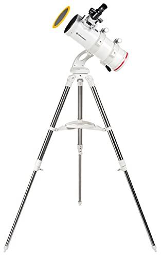 Bresser Spiegel Teleskop NANO NT-114/500 kompaktes und hochwertiges azimutales Spiegelteleskop mit Weitfeldoptik mit Edelstahl Felddreibeinstativ inklusive umfangreichem Zubehör