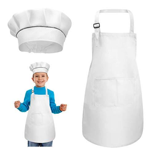 kissral Ensemble tablier + toque de chef réglable pour enfants avec poches pour la cuisine, la pâtisserie, la peinture 4-12 ans (blanc, grand)