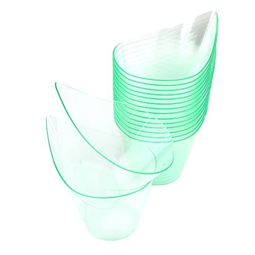 50 cuencos verdes de 200 cc, forma de gota, para porciones individuales, postres, ratones, semifríos y macedonias.