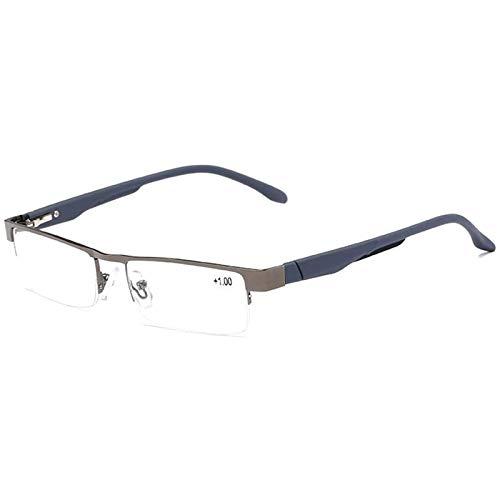 Reading Glasses Halbrahmen Lesebrille für Frauen und Männer Rechteck Bifokale Gleitsichtglaslinse Metall Rim Blue Light Blocking Lesespiegel
