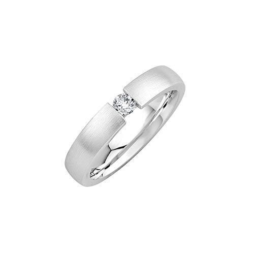 GIORO Emilia Damen Ring Verlobungsring Antragsring 925 Silber *handgefasster Swarovski Stein* Weißgold Platin Optik mit Gravur (51 (16.2))