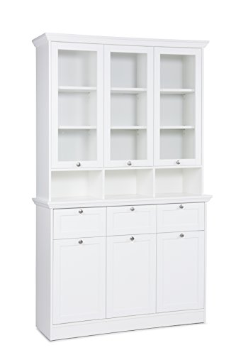 Inter Trade 1791 Buffet haut vitré 6 Portes 3 Tiroirs 3 Niches Bois Blanc 120 x 40 x 200 cm