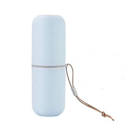 Vaso de Cepillo de Dientes de Viaje,2 en 1 Taza de Cepillo de Dientes Estuche de Pasta de Dientes, Tazas de gárgaras con Cuerda Colgante para el baño casa Viaje Senderismo Camping(Azul)