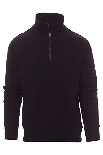 Mivaro Herren Troyer, Pullover mit 1/4 Reißverschluss, hoher Kragen, ohne Kapuze, Größe:3XL, Farbe:Schwarz