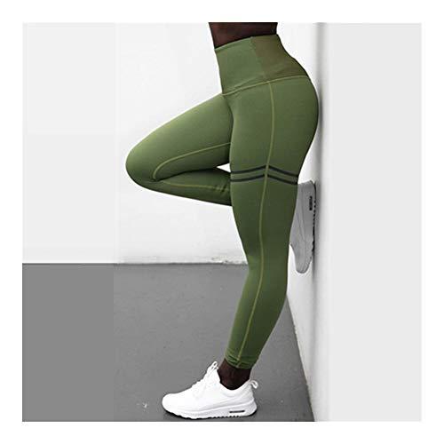 Noctiflorous - Leggings para mujer de cintura alta para entrenamiento de fitness, pantalones de gimnasio sin costuras para deportes ajustados, transpirables S-XL (color: 7026 verde, tamaño: L)