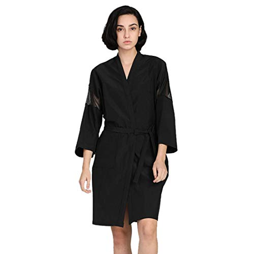 Liuzhou Bata Peluquería Kimono para Mujer Capa de Peluqueria Bata de Baño Corta Albornoz Corto Bata de Masaje Salón de Belleza Negro