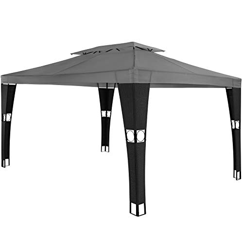 TecTake 800791 Poly Rattan Gazebo 4x3 m, Garden Pavilion, Outdoor Shelter, Party Tent, 4 Sides, Steel Frame, Water-Resistant Roof, Events Wedding (Black-Anthracite)