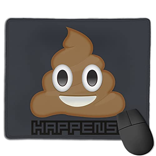 Shit Happens Poop Rectangle Mouse Mat Customized Non-Slip Square Mouse Pad Rubber Base with Stitched Edge for Gaming Office Laptop