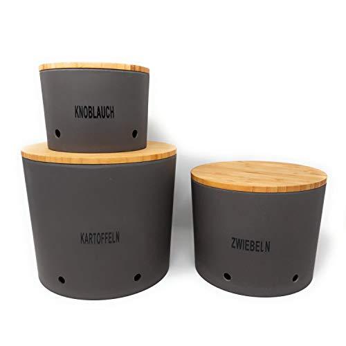 CreaFlor Home 3er Set Zwiebel-, Knoblauch- & Kartoffeltopf Vorratsdosen Schiefer grau schwarz