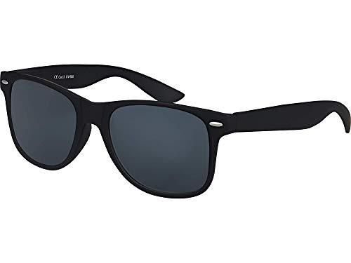 Balinco Hochwertige UV400 CAT 3 CE Nerd Sonnenbrille matte Rubber Retro Vintage Unisex Brille mit Federscharnier für Herren & Damen (Schwarz - Smoke)