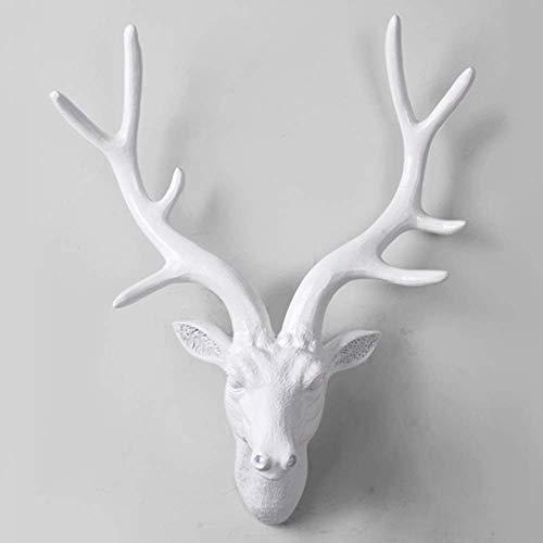 DAGCOT Decoración de la pared falsa cabeza colgando de la pared escultura principal de los ciervos decoración de la pared nórdica animal de la pared Decoración de resina blanca cabeza de los ciervos c