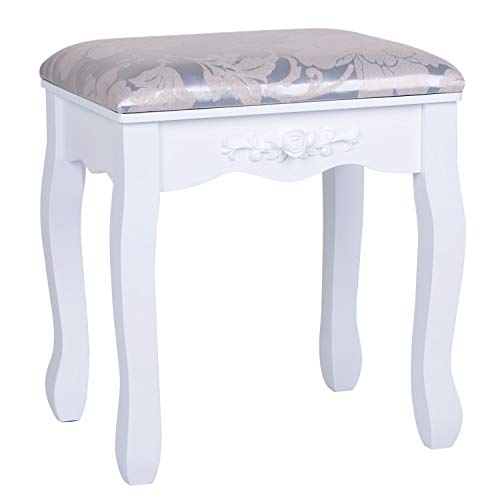 Joolihome Dressing Table Stool, Padded Bench Chair Makeup Seat Baroque Piano Chair White with Rubberwood Legs