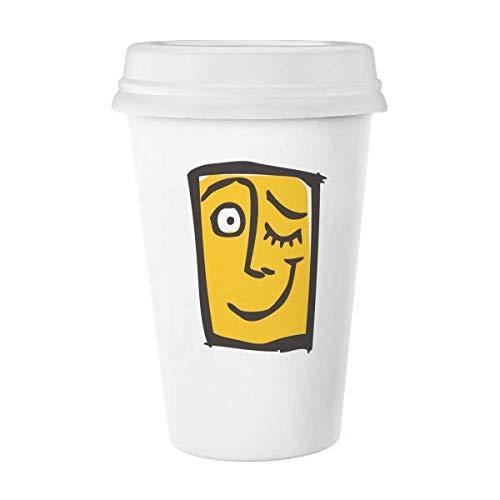 Guiño Abstract Face Sketch emoticonos Chat en Línea Classic blanco cerámica de cerámica taza de leche taza de café taza 350ml