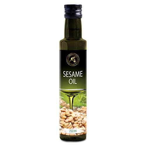 Aceite de Sésamo 250ml - Comestible - Prensado en Frío - Aceite de Sésamo para la Alimentación & la Salud - Sesamum Indicum - Aceite de Sésamo Crudo 100% Puro & Natural