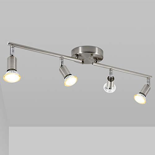 LED 4 Light Track Lighting Kit, Matte Nickel 4 Way Ceiling Track Light, CRI≥90, Flexibly Rotatable Light Head, Ceiling Spot Light for Exhibition/Hallway, Included 4X 5W LED GU10 Bulbs(2700K, 510LM)