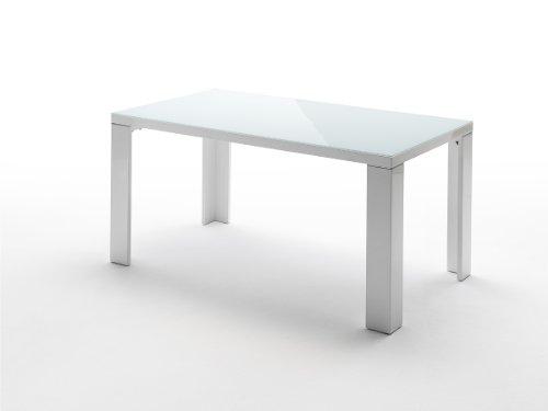 Robas Lund Esszimmertisch Weiß Hochglanz mit Glasplatte, Tizio BxHxT 120 x 76 x 80 cm