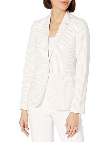 Tommy Hilfiger Women's One Button Blazer, Powder Pink/Ivory, 6