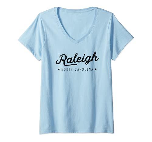 Donna Classic Retro Vintage Raleigh North Carolina USA Maglietta con Collo a V