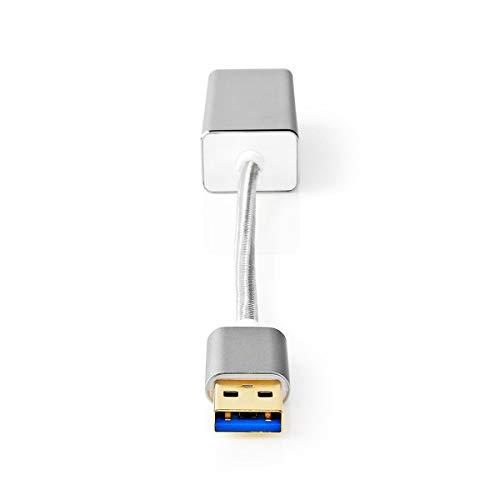 NEDIS Adaptador USB Adaptador USB | USB 3.2 Gen 1 | USB Type-A | RJ45 Hembra | Chapado en Oro | Recto | 0.20 m | Redondo | Nylon/Trenzado | Aluminio | Plata | Caja de Ventana Plata 0.20 m