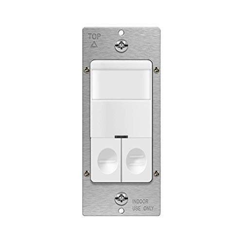 TOPGREENER Dual Load Motion Sensor Switch, PIR Sensor Light and Fan Switch, Occupancy & Vacancy Modes, No Neutral Wire Required, Ground Wire Required, 5A, 500W LED/CFL, Single Pole, TDOS5-JD, White