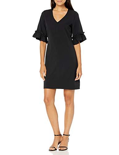 Lark & Ro Women s Florence Ruffle Half Sleeve V-Neck Sheath Dress, BLACK, 8