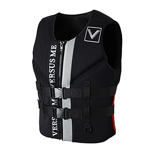 magnifier Chaleco salvavidas anticolisión de neopreno para adultos, chaleco salvavidas de seguridad para esquí acuático, natación, pesca, canotaje, kayak, negro, XL