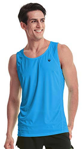 Indoor Running Singlet for Men Ultra Lightweight Marathon Tank Top Dry Fit Sleeveless Workout Shirt(US Small=Tag XL Blue)