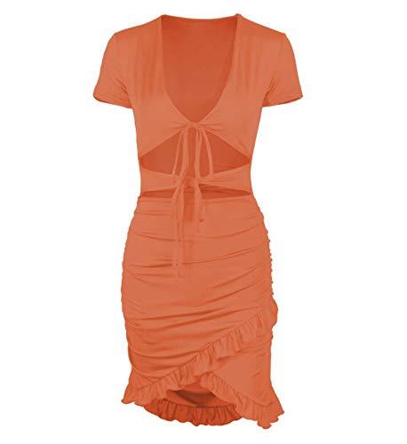 Dames Casual V-hals Korte mouw Diepe V Korte mouw Holle mini-jurk