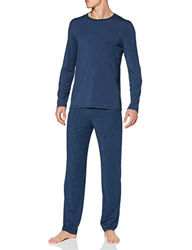 Schiesser Herren Personal Fit Schlafanzug lang Pyjamaset, dunkelblau, 56