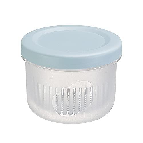 Caja de almacenamiento para refrigerador, 500 ml, jengibre, ajo y cebolla verde, caja de almacenamiento para el hogar de doble capa de plástico transparente sellado de drenaje fresco tazón