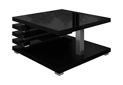 Tavolino da salotto Oslo 60 x 60 cm nero opaco con piano lucido