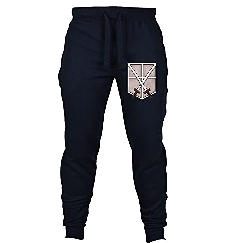 Mnijiein Pantalones Deportivos Anime Attack On Titan para Hombre Mujeres Pantalones De Chándal De Cosplay Informales Pantalones para Adultos Unisex Adolescentes Azul Oscuro XL