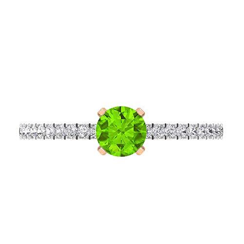 Rosec Jewels 14 quilates oro rosa redonda round-brilliant-shape H-I Green Diamond Creado en laboratorio de kryptonita