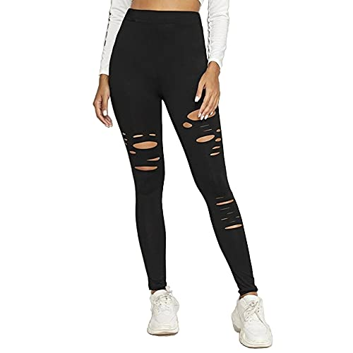 Unlimit High Waist Yoga Pants, Ripped Leggings for Women, Workout Leggings Cutout, Comfortable Casual Pants with Slits, Black (M)