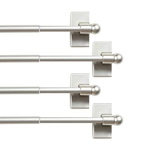 "H.VERSAILTEX (4 Pack Magnetic Curtain Rods for Metal Doors Multi-Use Adjustable Rods Tool Free for Iron and Steel Place 1/2"" Diameter, with Petite Ball Finials (9""-16"", Nickel)"